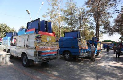 بدرقه کاروان تجهیزات ۵۰ باب خانه ورزش روستایی استان اصفهان در گلستان شهدا