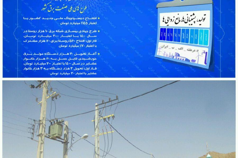 بهره برداری از پروژه های برق رسانی روستایی در ششمین هفته پویش هرهفته الف ب ایران در اصفهان